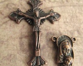 Beautiful Antique Copper Crucifix and Matching Mother and Child/Sacred Heart Reversible Center - 1 pair