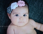 Newborn, Baby, Girl Crochet Flower Headband In Gray, Light Pink, and White - Perfect for Photos
