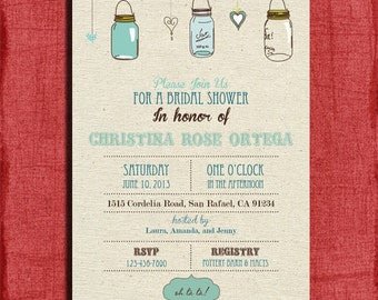 Vintage Mason Jar Rustic Style Bridal Shower  4x6 or 5x7 Invitation-Printable