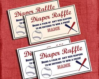 Printable Baseball Baby Shower Diaper Raffle Tickets