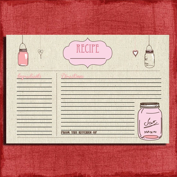 Pink Recipe Cards For Bridal Shower Bridal Shower Pink Recipe