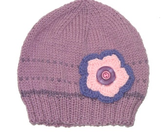 Girls Retro HANDMADE Dusky Pink/Lilac Purple Knitted Wool Beanie & Flower and Buttons  . Size - Age: 4 5 6 7 8 . OOAK . Made in Australia