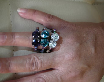 hand made nylon wire triple ring with swarovsky crystalls and beads.
