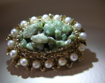Vintage brooch with aventurine,Zero Shipping Charge