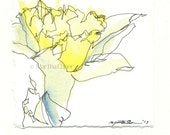 Daffodil Flower Watercolor Drawing