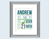 Nursery Birth Announcement Wall Art - Dinosaur, Baby Nursery Name