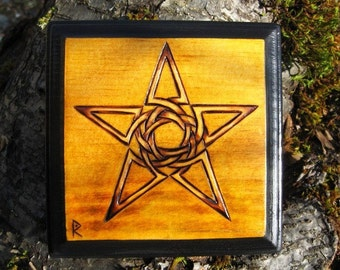 Celtic Knotwork Star Pentagram Pyrography Woodburning Plaque 4x4""