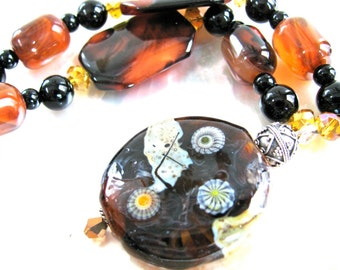 Earthy necklace, Lampworked pendant, Brown Lace Agate, beaded necklace, Dream Agate, crystal, Onyx, sterling, gemstones 178