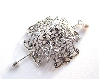 Celtic Cross Lapel Pin, Celtic Cross Shawl Pin, Celtic hair Slide, silver shawl pin, pagan, sweater pin, hat pin, fashion, silver scarf pin