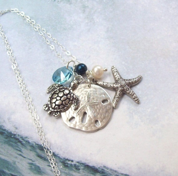 Sea Turtle Necklace Sand Dollar Necklace Starfish Necklace