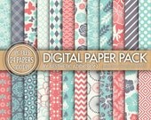 Light Red Blue White 24 Pack Digital Paper - Damask Floral Geometric - 300 DPI - 24043