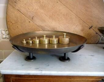 Antique Brass Weights Set Boxed Grams Dkg Industrial Scientific