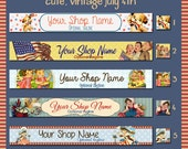 Cute, Vintage Fourth of July Etsy Shop Banner Set - Your Choice from 5 Pre-made Vintage Designs