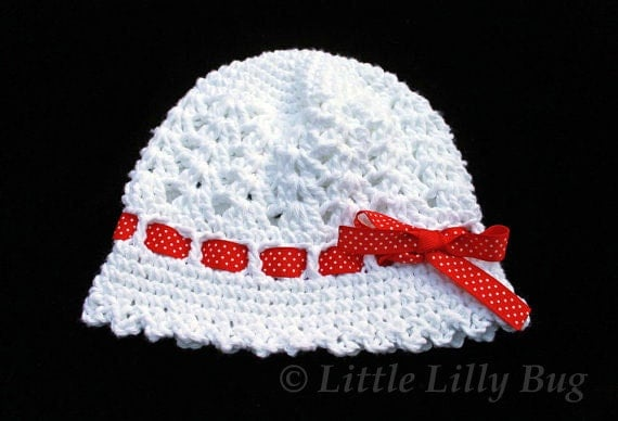Crocheted Cloche Hat in White with Red Ribbon, sizes 0-3 months, 3-6 months, 6-12 months, Toddler, Made to Order