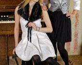 50% DISCOUNT / Handmade Light Silver Brocade Strapless Bustier Pleat Dress fit for S / M sized Women