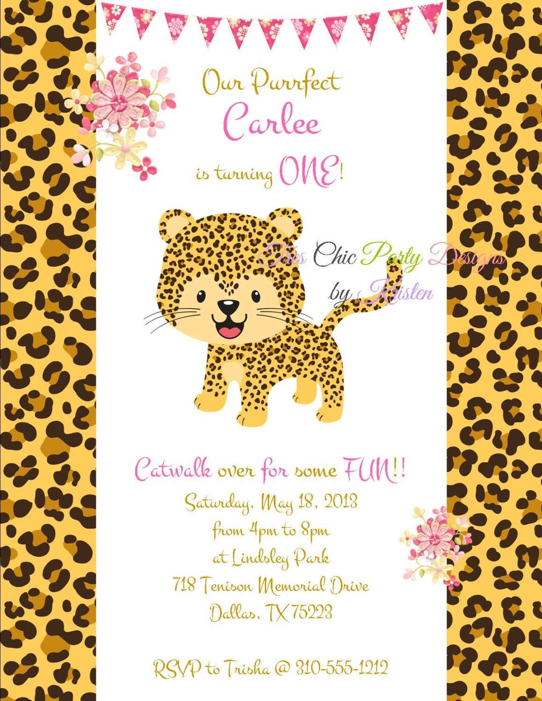 Leopard Birthday invitation, print and ship invites, leopard print ...