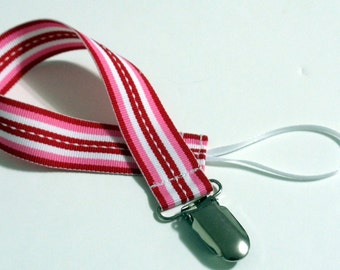 Red White Ribbon Pacifier Clip Pacifier Holder
