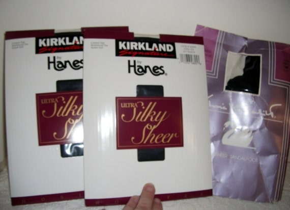 1 DOllAR SAlE 3 Pair Vintage Pantyhose Ultra Silky Sheer Control Top Black and Coffee Now ONLY 1 USD