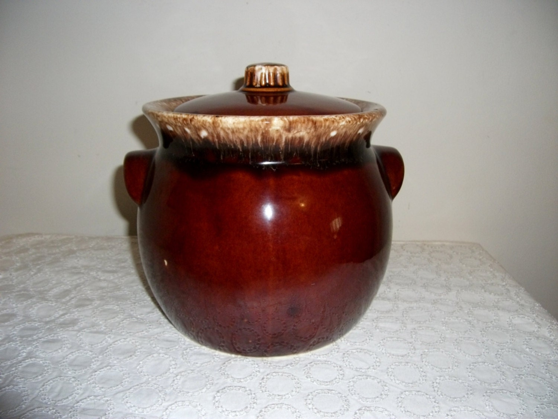 Vintage Hull Pottery Brown Drip Bean Crock Or Cookie Jar Only