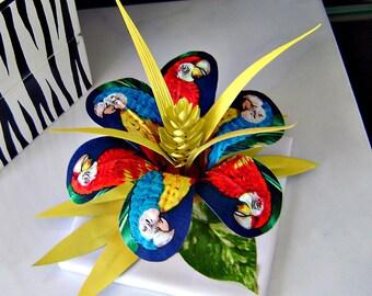 Children's Decorative Tile - Fabric Flower with Parrots  / Table Decor