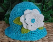 Baby Girls Flower Hat 100% USA Grown Cotton Color is Seakiss Crochet  Infant Photography Prop Baby Beach Hat Summer Hat