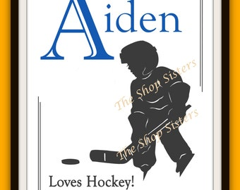 Hockey Boy Personalize Name Silhouette 8 x 10 Print Wall art FREE SHIPPING Inspirational