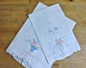 2 Handmade Embroidered Applique Linen Guest Towels.