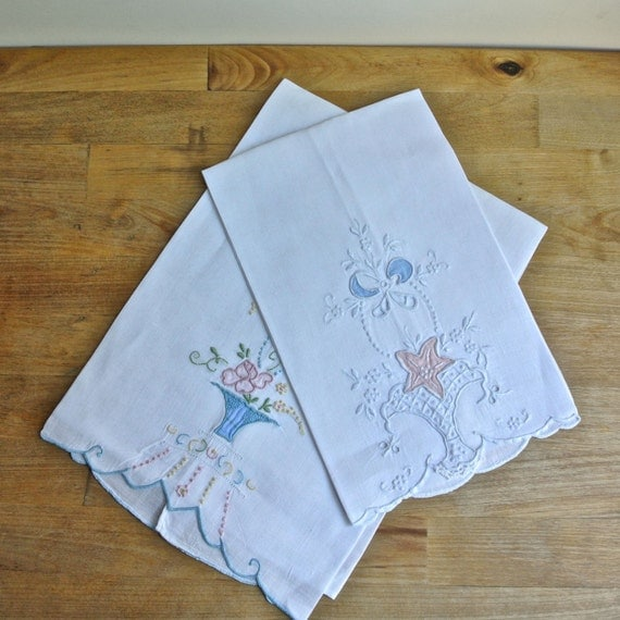Guest Towels Linen: 2 Handmade Embroidered Applique Linen Guest Towels