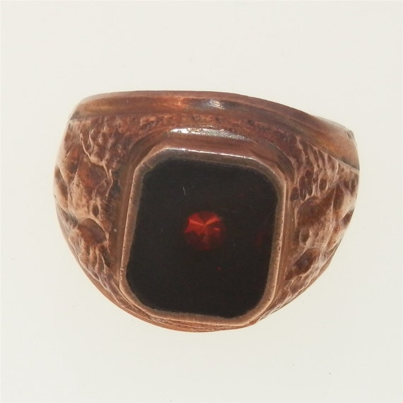 mens garnet ring vintage copper or brass eagle size 9. Black Bedroom Furniture Sets. Home Design Ideas