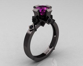 Modern Armenian Bridal 14K Black Gold 1.0 Amethyst Black Diamond Solitaire Ring R240-14KBGBDAM