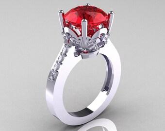 Classic 10K White Gold 3.0 Carat Rubies Diamond Solitaire Wedding Ring R301-10KWGDR