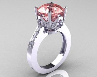 Classic 10K White Gold 3.0 Carat Peach Topaz Diamond Solitaire Wedding Ring R301-10KWGDPT