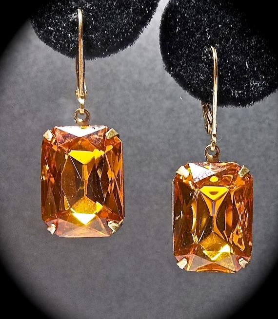 Topaz earrings - Vintage - Octagon - Gold filled leaverbacks - Stunning - Orange earrings - Fashion Jewelry