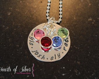A Mother's Love Necklace- Hand Stamped Mothers Necklace- Personalized Mommy  Jewelry- Sterling Silver Necklace