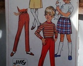 Vintage Childrens Play Clothes Pattern by Simplicity - Retro Sewing Supply, Printed Paper Pattern, Skirt + Pant Pattern for Girls