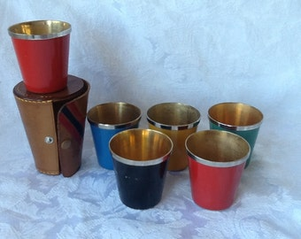 Shot Glasses,  Stainless Steel and Silverplate  with Leather Carrying Case ,NOW ON SALE,  1940s