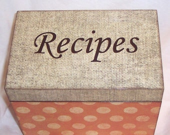 Recipe Box - Burlap - Orange Wooden Polda Dot  Recipe Box - Kitchen Organizer- Kitchenware - Storage Box - Personalized- Keepsake Box - Gift