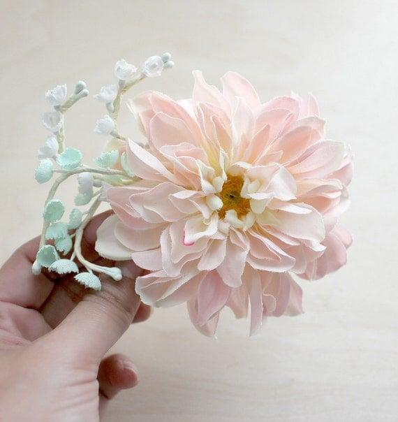 Blush Dahlia Hair Clip. Pink and Mint Green, Flower Hair Pin. Whimsical, Bridal headpiece, Spring, Floral, Hair Accessories.