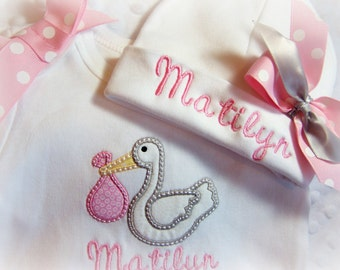 Newborn Name Gown, Personalized coming home outfit, Personalized Take home outfit, Hospital Name Hat for Baby, Hospital Take Home, Stork