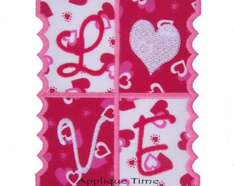 Instant Download Love Stamp Machine Embroidery Applique Design 4x4, 5x7 and 6x10 and small 4x4