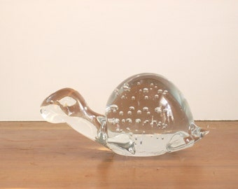 Vintage Glass Turtle Paperweight