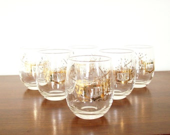 "Gold Trimmed Roly Poly Glasses, ""VIP"" Barware, Sword Design, Rocks Glasses,  Mad Men Style"