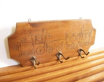 Vintage Wooden Train Coat Rack, Wall Hooks, Vintage Locomotive Decor