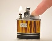 Bright Working Yellow and Black Tiger Striped Kent Pocket Lighter