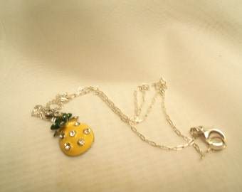 Sale- Unique Yellow Enamel Rhinestone Swarovski Crystals Pineapple w/ Sterling (925) Cable or Box Chain Necklace- Birthday Gift Her Mom Mum