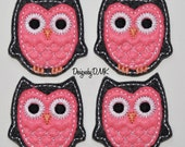 Charcoal Grey Owl with Brite Pink Belly Felt Embroidered Embellishment Applique Clippie Cover SET of 4