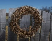 Barbed Wire Grapevine Wreath - Rusty Patina Farmhouse Country Decor Rustic Industrial, Rustic Garden