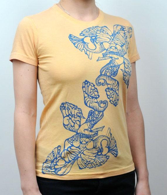 Elephants Screen Print T-Shirt on American Apparel Tee Women
