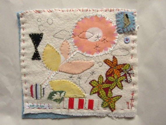 Small Textile made from vintage blanket and fabrics, hand embroidery