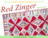 Red Zinger Selvage Quilt Pattern, Upcycle, Recycle, PDF Quilt Pattern, qtm, Instant Download